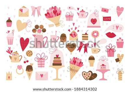 Big set of romantic elements for Valentine's day. Hearts, sweets, flowers, cupcakes, gifts, ice cream and other cute items. Vector illustrations for valentines day, stickers, greeting cards, etc.