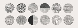 Big Set of round Abstract black Backgrounds or Patterns. Hand drawn doodle shapes. Spots, drops, curves, Lines. Contemporary modern trendy Vector illustration. Posters, Social media Icons templates