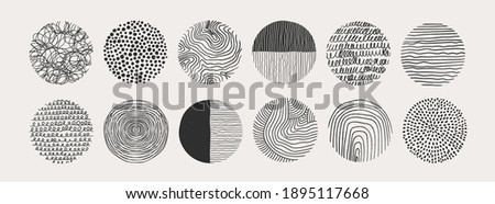 Big Set of round Abstract black Backgrounds or Patterns. Hand drawn doodle shapes. Spots, drops, curves, Lines. Contemporary modern trendy Vector illustration. Posters, Social media Icons templates Foto d'archivio ©