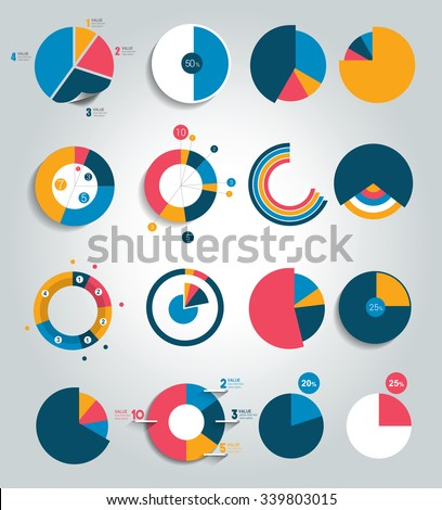 Big set of round, circle chart, graph. Simply color editable. Infographics elements.