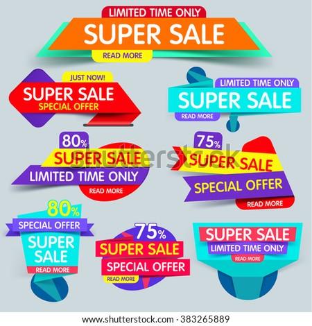 Big set of  sale banner. Super sale banner. Sale and discounts. Flat sale banner. New offer. Set of Website Banner.