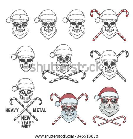 big set of santa claus skulls