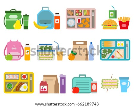 Big set of school lunch boxes for children. Vector illustration.