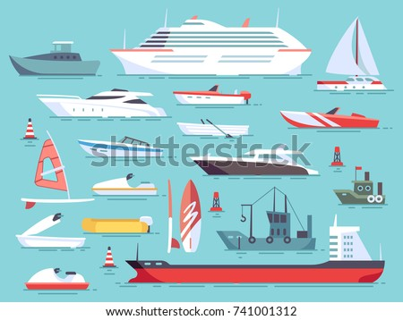 big set of sea boats and little