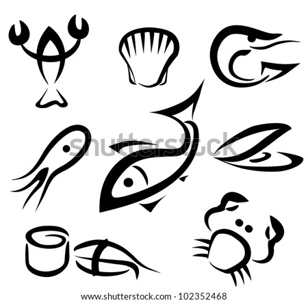 big set of sea food symbols, simple icons in black lines