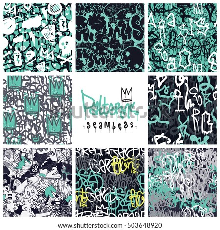 big set of seamless patterns