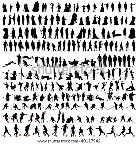 Big Set of Smooth Different People Vector Silhouette in Variable Poses . Dance and Sport. Singing, Rock Musicians, Jumping, Standing,  Football, Soccer, Basketball.  High Detail Vector Illustration.