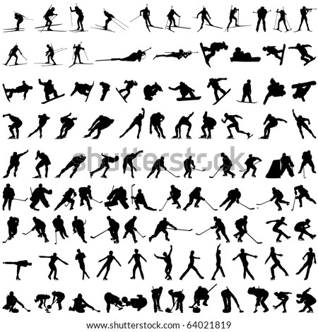 Big Set of Smooth Different Winter Sport Pose Men and Women People  Silhouettes. Hockey, Biathlon, Snowboarder, Skating, Ice Skiing, Figure Skating, Curling. High Detail Vector Illustration.