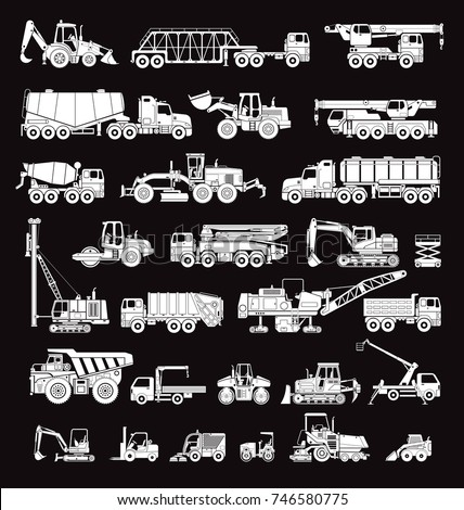 Big set of special machines for the construction work. Forklifts, cranes, excavators, tractors, bulldozers, trucks. Special equipment. Road repair. Commercial Vehicles. Icons