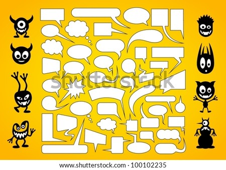 Big set of speech bubbles with funny monsters. - stock vector