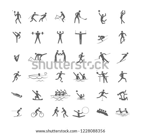 Big set of sport games. Collection of activity icons with volleyball, football, canoe and swimming. Line figure. Isolated vector illustration