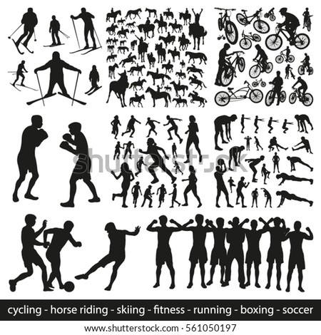 big set of sports people vector