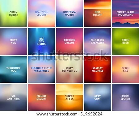 big set of 20 square blurred