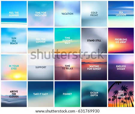 stock-vector-big-set-of-square-blurred-nature-backgrounds-with-various-quotes-sunset-and-sunrise-sea