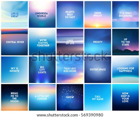 stock-vector-big-set-of-square-blurred-nature-dark-blue-backgrounds-with-various-quotes-sunset-and-sunrise