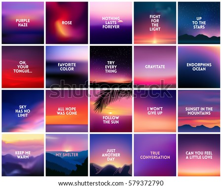 BIG set of 20 square blurred nature dark purple violet pink backgrounds. With various quotes. Sunset blurred dark purple violet background