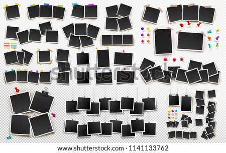 Big set of square vector photo frames on sticky tape, pins and rivets. Template photo design. Vector illustration. Isolated on transparent background