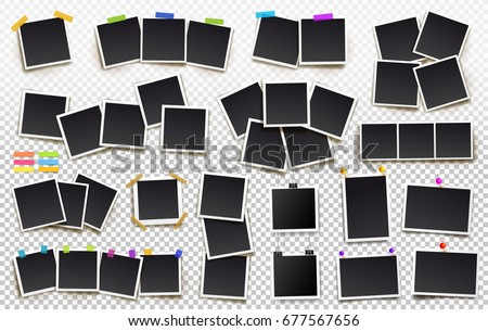 Big set of square vector photo frames on sticky tape, pins and rivets. Vertical and horizontal template photo design. Vector illustration. Isolated on transparent background