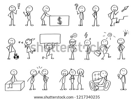 Big set of stick figures for presentations. Includes small elements and clean spaces for texts