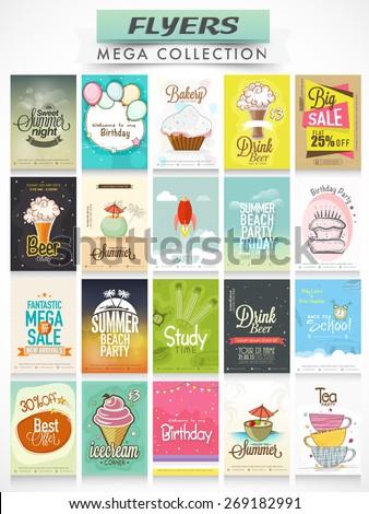 big set of stylish flyers