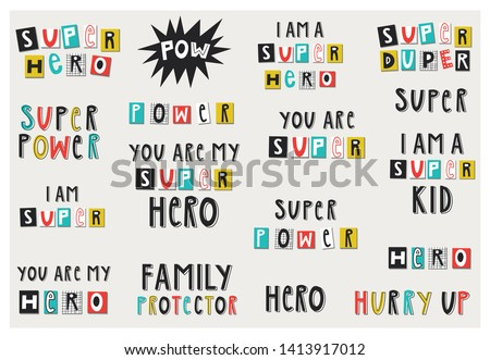 Big set of Super Hero lettering phrases and words. Vector illustration