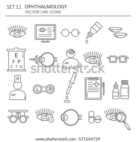 Big set of symbols of ophthalmology. Modern thin line icons collection, flat style. Vector background with black and white elements group. Illustration with vision icon, logo design