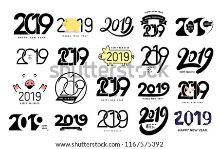Big Set of 2019 text design pattern. Collection of Happy New Year and happy holidays. Vector illustration. Isolated on white background