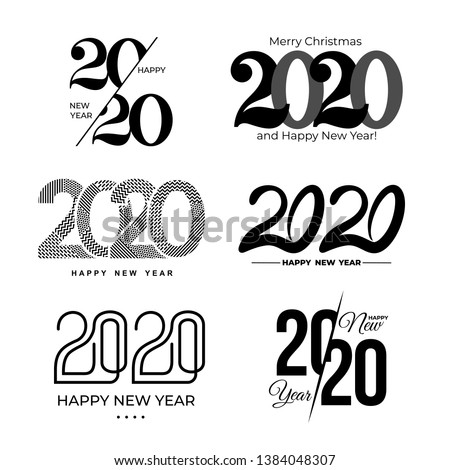Big Set of 2020 text design pattern. Collection of logo 2020 Happy New Year and happy holidays. Vector illustration. Isolated on white background.