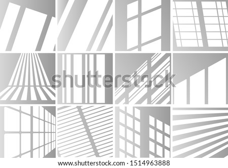 Big set of the overlay shadow effects. Shadow and light from the window. Reflection of light on the wall. Transparent shades for your design. Vector illustration.