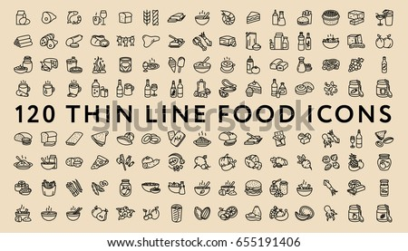Big Set of 120 Thin Line Stroke Food Icons.