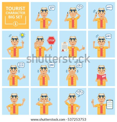 big set of tourist icons