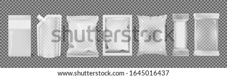 Big Set Of Transparent Empty Plastic Packaging. EPS10 Vector Foto d'archivio ©