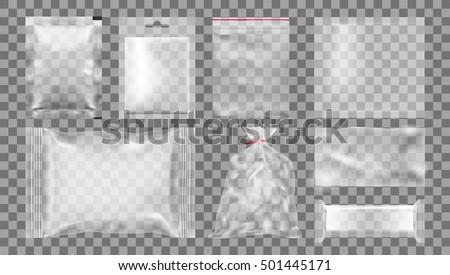 Big Set Of Transparent Empty Plastic Packaging. EPS10 Vector
