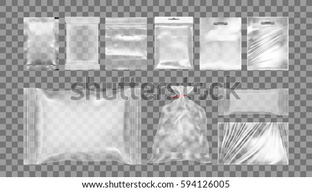 Big Set Of Transparent Empty Plastic Packaging. EPS10 Vector