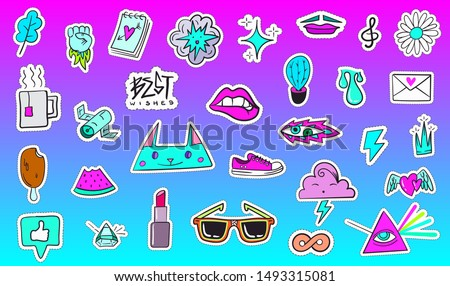 Big Set of Vaporwave Styled Colorful Modern Patches or Stickers. Fashion cyan magenta patches. Cartoon 80's - 90's retrowave style. Vector illustration.