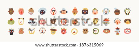 Big set of Various abstract People and cute creatures. Funny Characters, avatars. Different Icons. Hand drawn trendy Vector illustrations. Cartoon style. Flat design. All elements are isolated