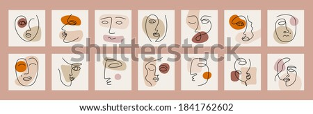 Big set of various cubism faces, abstract shapes. Ink painting style. Continuous line portraits elegant minimalistic concept. Contemporary hand drawn vector illustration Foto stock ©