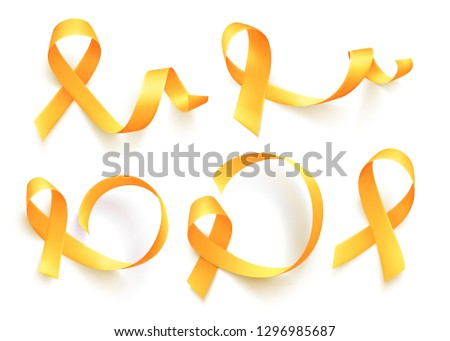 Big set of various realistic gold ribbons over white background. World childhood cancer symbol, vector illustration. Template for poster for cancer awareness month.