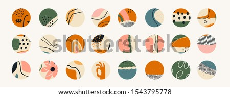 Big set of various vector highlight covers. Abstract backgrounds. Various shapes, lines, spots, dots, doodle objects. Hand drawn templates. Round icons for social media stories. Perfect for bloggers