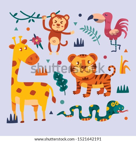Big set of vector animals. Tropical animals. cartoon animals.
