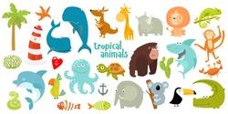 Big set of vector animals. Tropical animals. cartoon animals. lion, giraffe, gorilla, crab, shark, snake, elephant, rhinoceros, parrot, koala, kangaroo, crocodile, turtle