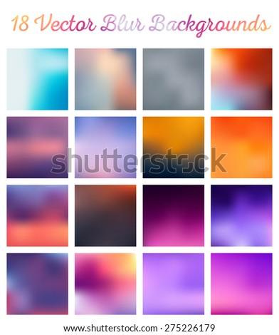big set of vector blurred