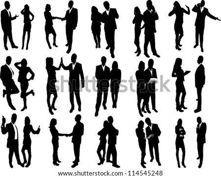 Big set of vector business people silhouettes