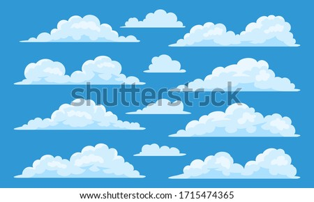 Big set of vector cartoon clouds. 12 different cloud.
