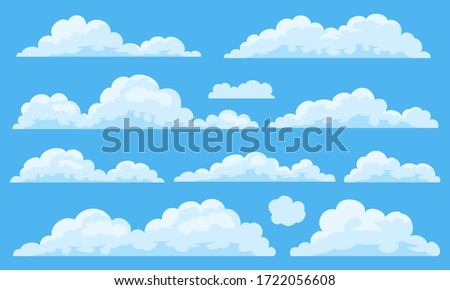 Big set of vector cartoon clouds. 11 different cloud.