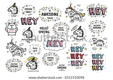 Big set of Vector cute doodles illustrations with text and graphic design elements, fancy fantasy animals. Trendy characters collections for kid stickers, print