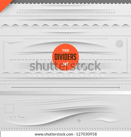 Big set of vector dividers for web design with seamless paper background eps 10