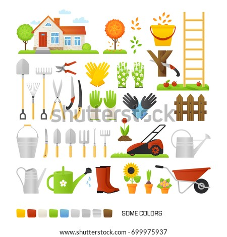 Big set of vector elements for gardening in a flat style. Country house and garden tools.