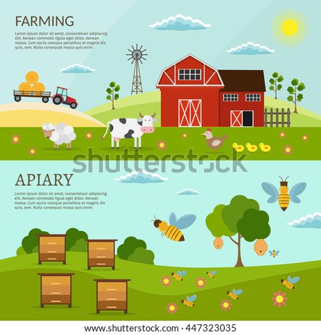 big set of vector farm and