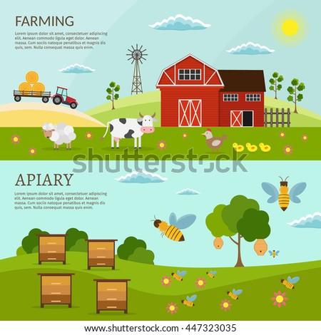 big set of vector farm and